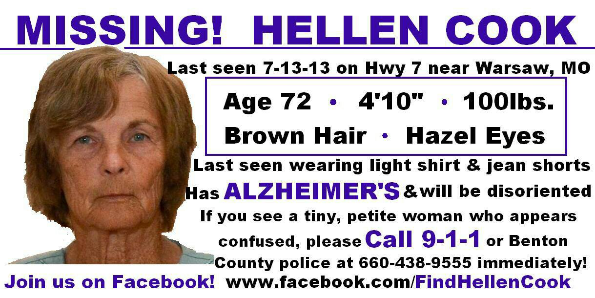 image showing picture and details of missing missouri woman hellen cook she has alzheimers