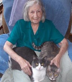 Edith Collins age 92 with Angel Cats, Happy and Cricket.